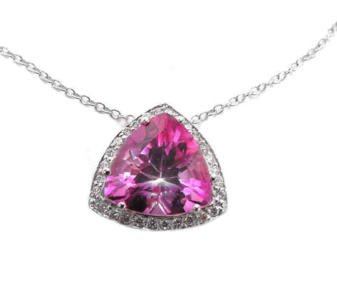 Trillion Shape Vivid Pink Topaz Pendant with Round Cut Diamonds 3.28 tcw. In Platinum