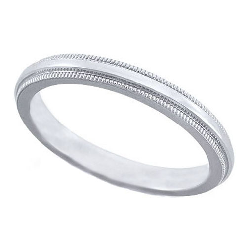 Milligrain Wedding Ring in White Gold 2.5 mm