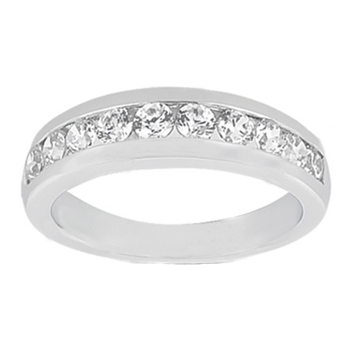 Ten Stone Round Diamond Wedding Band G SI1 0.51 tcw. In 14K White Gold