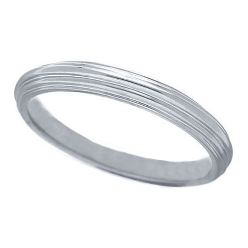 Ridged Contour Wedding Ring in 14K White Gold (3 mm)