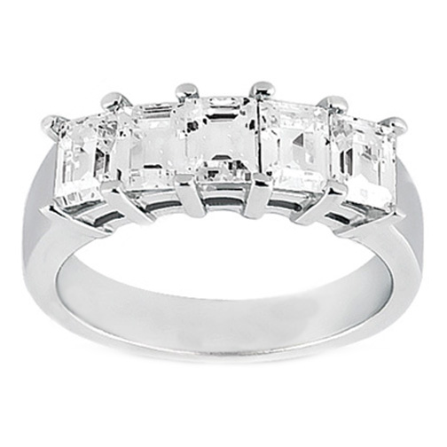 Five Stone Emerald Cut Diamond Wedding Band G-H VS 1.00 tcw. In 14K White Gold
