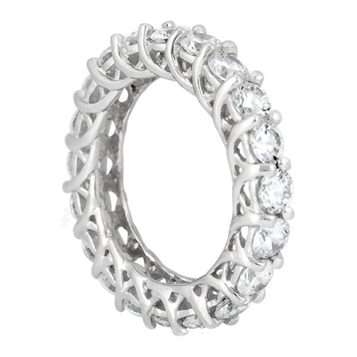 Round Diamond Trellis Eternity Wedding Band 3.15 tcw. In 14K White Gold