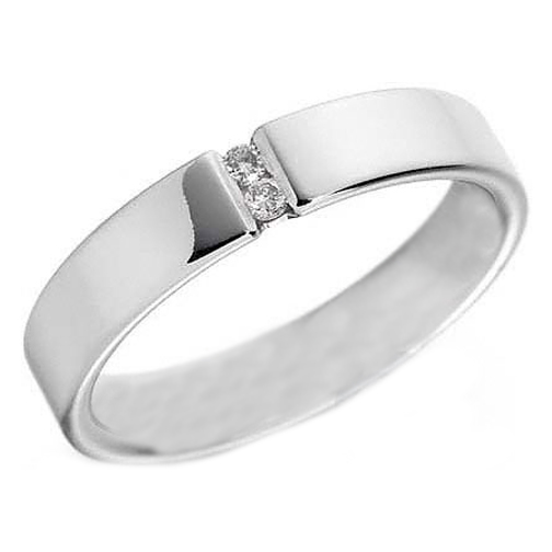 Two Stone Round Diamond Wedding Band Channel Set White Gold