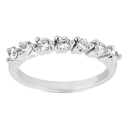 Seven Stone Round Diamond Wedding Band 0.20 in 14K White Gold