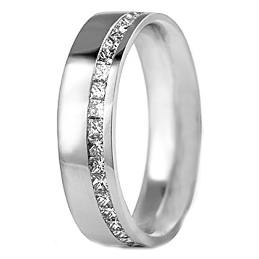 Princess cut Diamond Wedding Ring 1.00 tcw. Channel Set In 14K White Gold