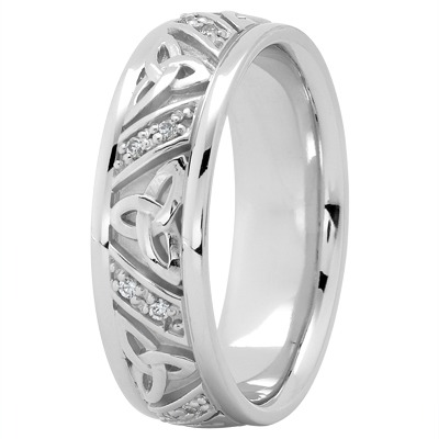 14K White Gold Celtic Knot Diamond Wedding Ring 7mm