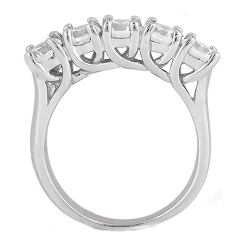 Five Stone Trellis Diamond Wedding Ring 0.50 tcw. In 14K White Gold
