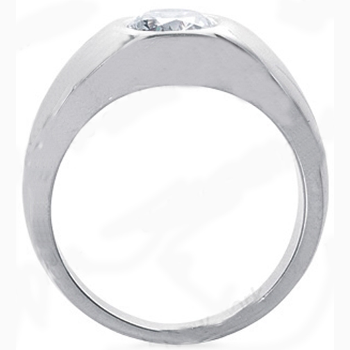 Solitaire Oval Diamond Men's Wedding Band 0.5 Carat. Bezel set in 14K White Gold