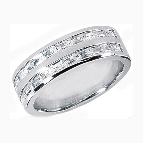 Straight Baguette Men s Wedding Band 1.4 tcw. Channel Set in 14K White Gold  ... 52c62af9f031