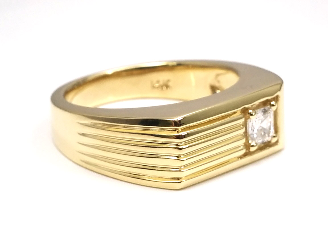 Solitaire Asscher Cut Diamond Men's Wedding Band 0.25 Carat Prong Set in 14 Karat Yellow Gold