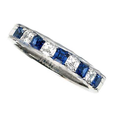 Four Stone Asscher Diamond Blue Sapphire Wedding Band 09 tcw