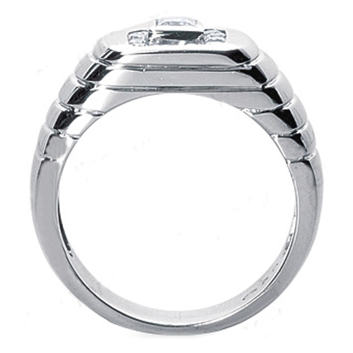 Emerald Cut and Round Diamond Men's Wedding Band 0.66 tcw. Channel Set In 14K White Gold