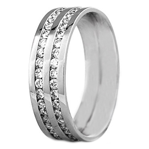 Round Diamond Channel Set Wedding Ring 0.40 tcw. In 14K White Gold