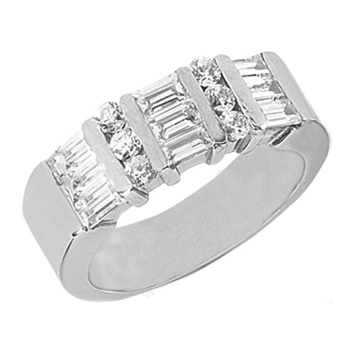 Straight Baguette & Round Diamond Wedding Band 1.11 tcw. Bar Set In 14K White Gold