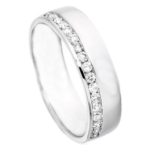 Round Diamond Channel Set Wedding Ring 0.25 tcw. In 14K White Gold