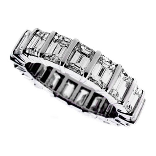 Emerald Cut Diamond Eternity Wedding-Anniversary Ring G-H VS 7.29 tcw. In 14K White Gold