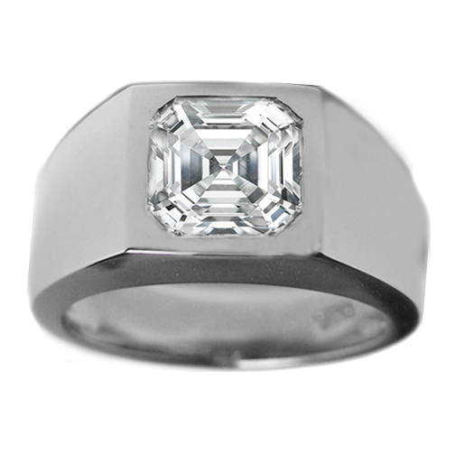 Solitaire Asscher Cut Wedding Band Bezel Set in 14K White Gold