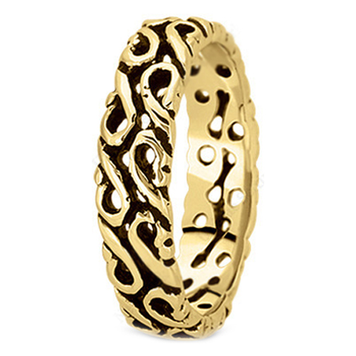 14K Yellow Gold Filigree Men's Wedding Band