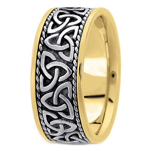 Two Tone 14K Yellow U0026 White Gold Celtic Knot Trinity Roped Engraved Menu0027s  Wide Wedding