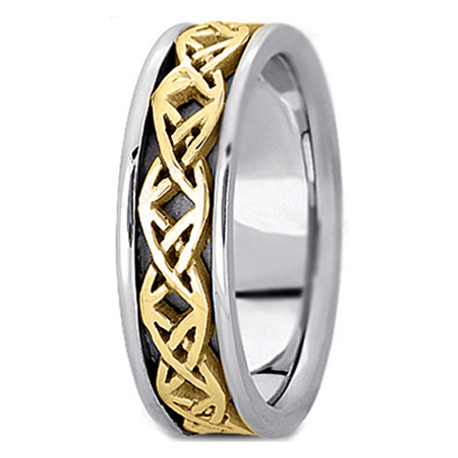 Two-Tone 14K White & Yellow Gold Engraved Men's Intertwined Wedding Band