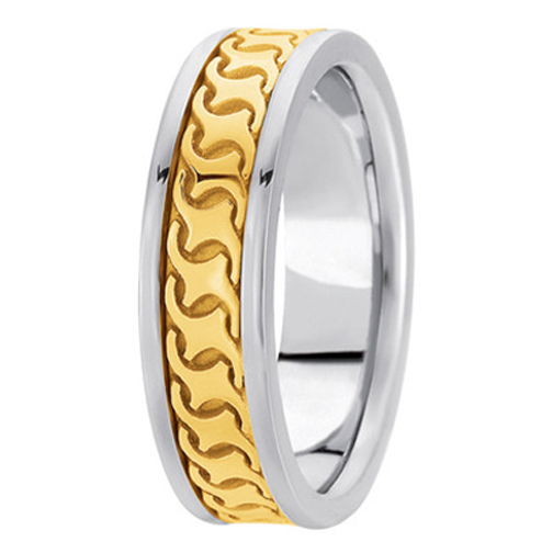 Two-Tone 14K White & Yellow Gold Engraved 5 mm Men's Wedding Ring