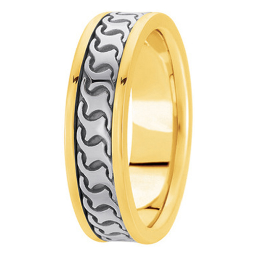 Two Tone 14K White & Yellow Gold Engraved 5mm Men's Wedding Ring