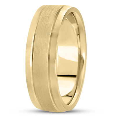 14K Yellow Gold 5 mm Men's Satin Finished Wedding Ring