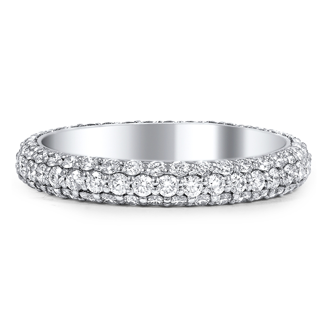 Round Diamond Eternity wedding Band G-H VS 1.00 tcw. In 14K White Gold