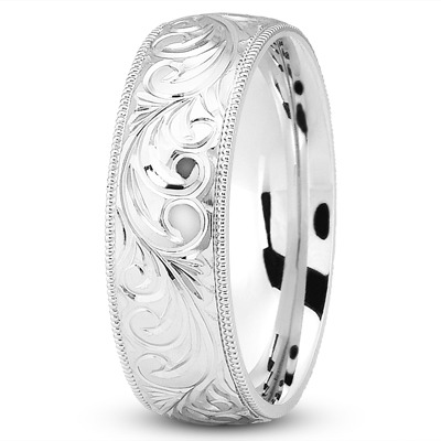 8mm Rococo Engraved Platinum Wedding Band