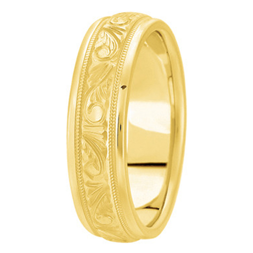 14K Yellow Gold 6 mm Men's Engraved Milligrained Wedding Band