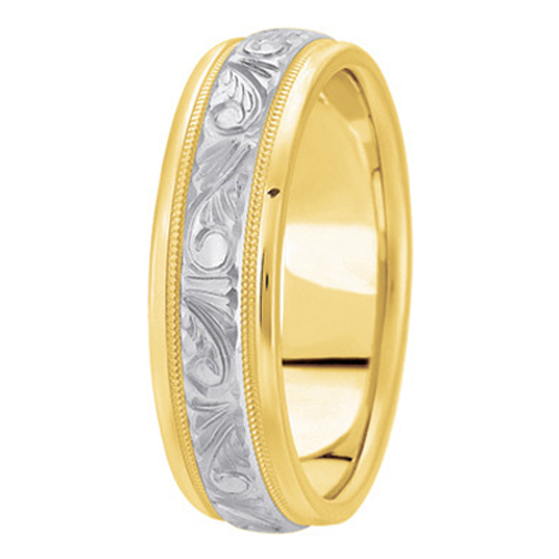 14K Yellow and White Gold 6.0mm Men's Engraved Milligrained Wedding Band