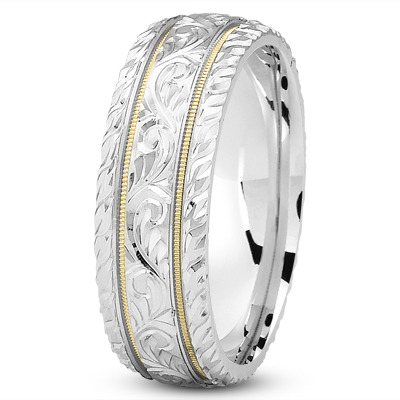 Diamond Cut Engraved Two Tone Wedding Band