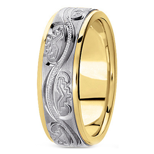 14K Yellow and White Gold 6 mm Men's Antique Satin Wedding Ring