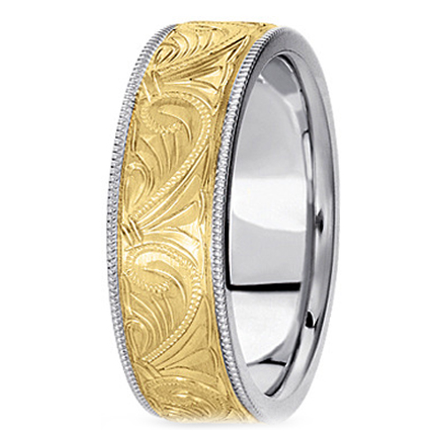 Two-Tone 14K White & Yellow Gold 6 mm Men's Engraved Milligrained Wedding Band