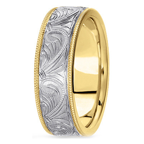 14K Yellow and White Gold 6 mm Men's Engraved Milligrained Wedding Band