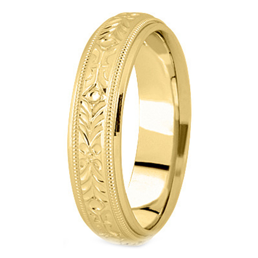 14K Yellow Gold 5 mm Men's Milligrained Engraved Wedding Band