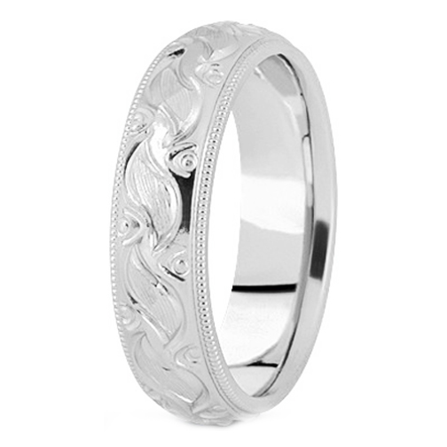 Platinum 7 mm Men's Milligrained Engraved Wedding Band