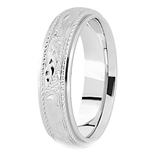 Platinum 5 mm Men's Rope Engraved Wedding Band