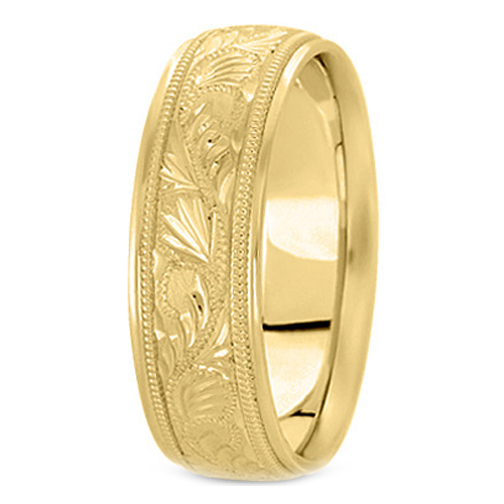 14K Yellow Gold 8 mm Men's Diamond Cut Engraved Wedding Band