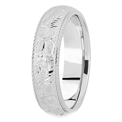 Platinum 5 mm Men's Rope Engraved Wedding Ring