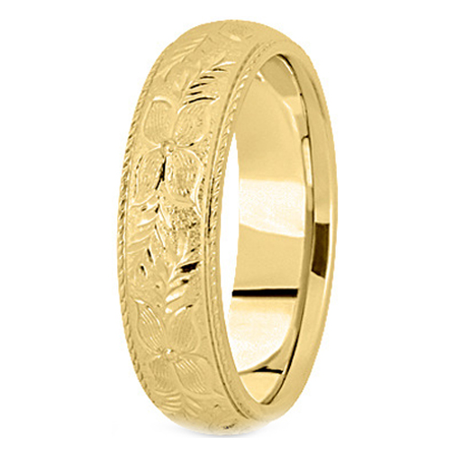14K Yellow Gold 5 mm Men's Roped Engraved Wedding Ring