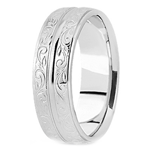 Platinum 9 mm Antique Engraved Men's Wedding Ring