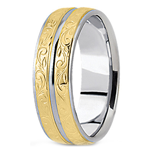 Two Tone 14K White & Yellow Gold Antique Engraved Men's Wedding Ring 9 mm