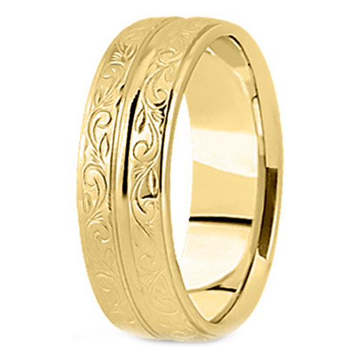 14K Yellow Gold 9 mm Antique Engraved Men's Wedding Ring