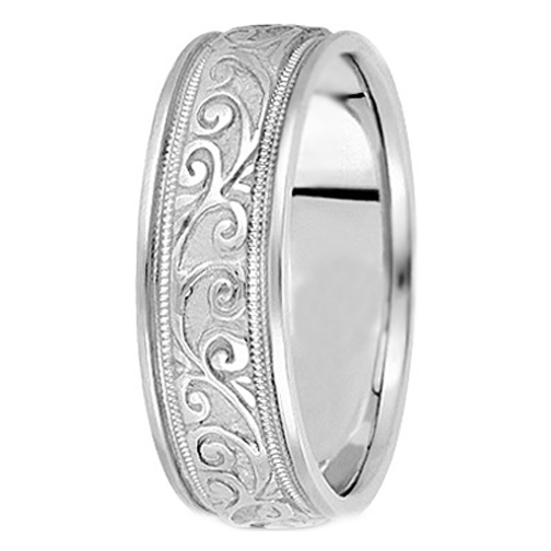 Platinum Engraved Leaves Milligrained edges Men's Wedding Ring 6.5 mm