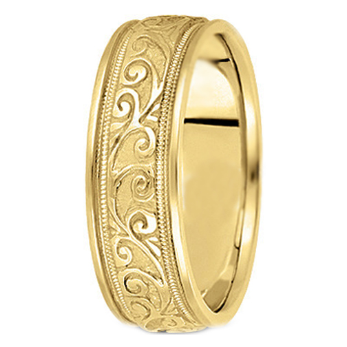 14K Yellow Gold Men's Engraved Leaves Milligrained edges Men's Wedding Ring 6.5 mm