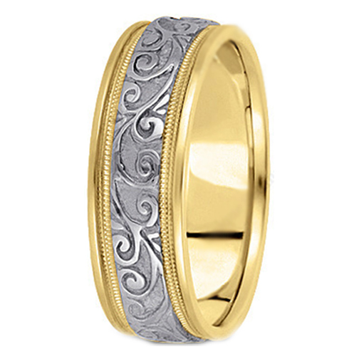 14K Yellow and White Gold Engraved Leaves Milligrained edges Men's Wedding Ring 6.5 mm