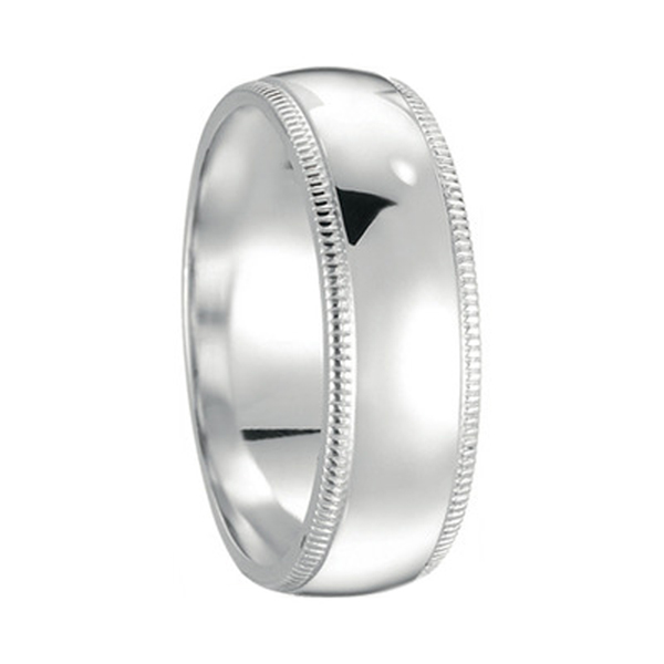 14 Karat White Gold Men 5mm Dome Wedding Band with Milligrain
