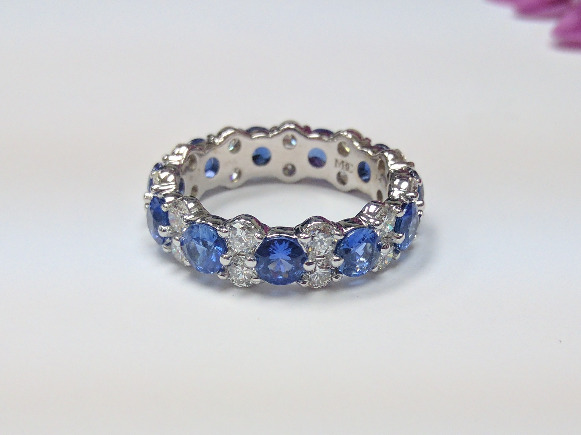 Garland Alternating Blue Sapphires & Round Cut Diamond Eternity Band, 5ct tcw.