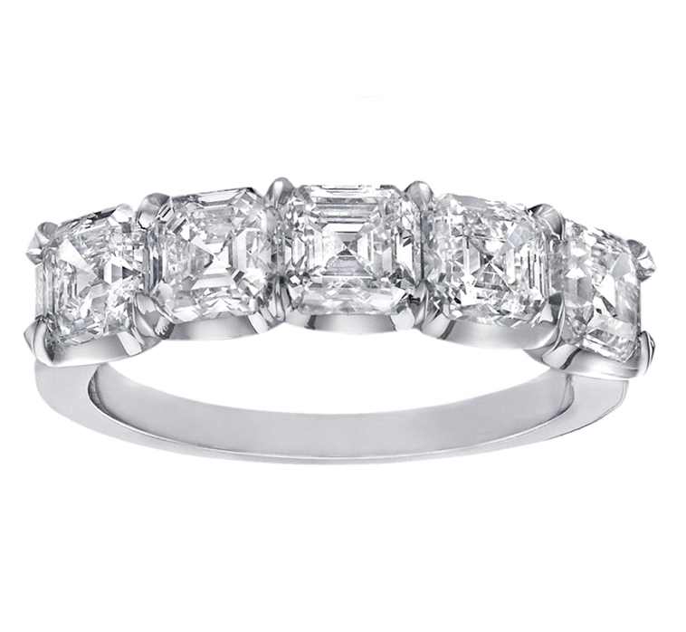 Five Stone Asscher Diamonds Wedding-anniversary ring G-H VS 4.52 tcw.